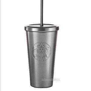 Other - Metal silver Starbucks tumbler